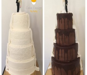Wedding cake double thème cascade de chocolat