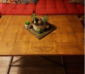 Plateau de table caisse à vin