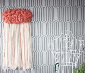 Tissage Mural Nuage Rose