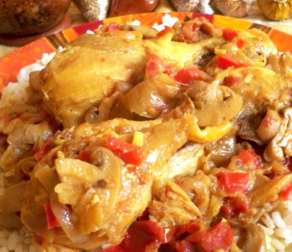 Poulet massalé aux champignons et aux poivrons !!!