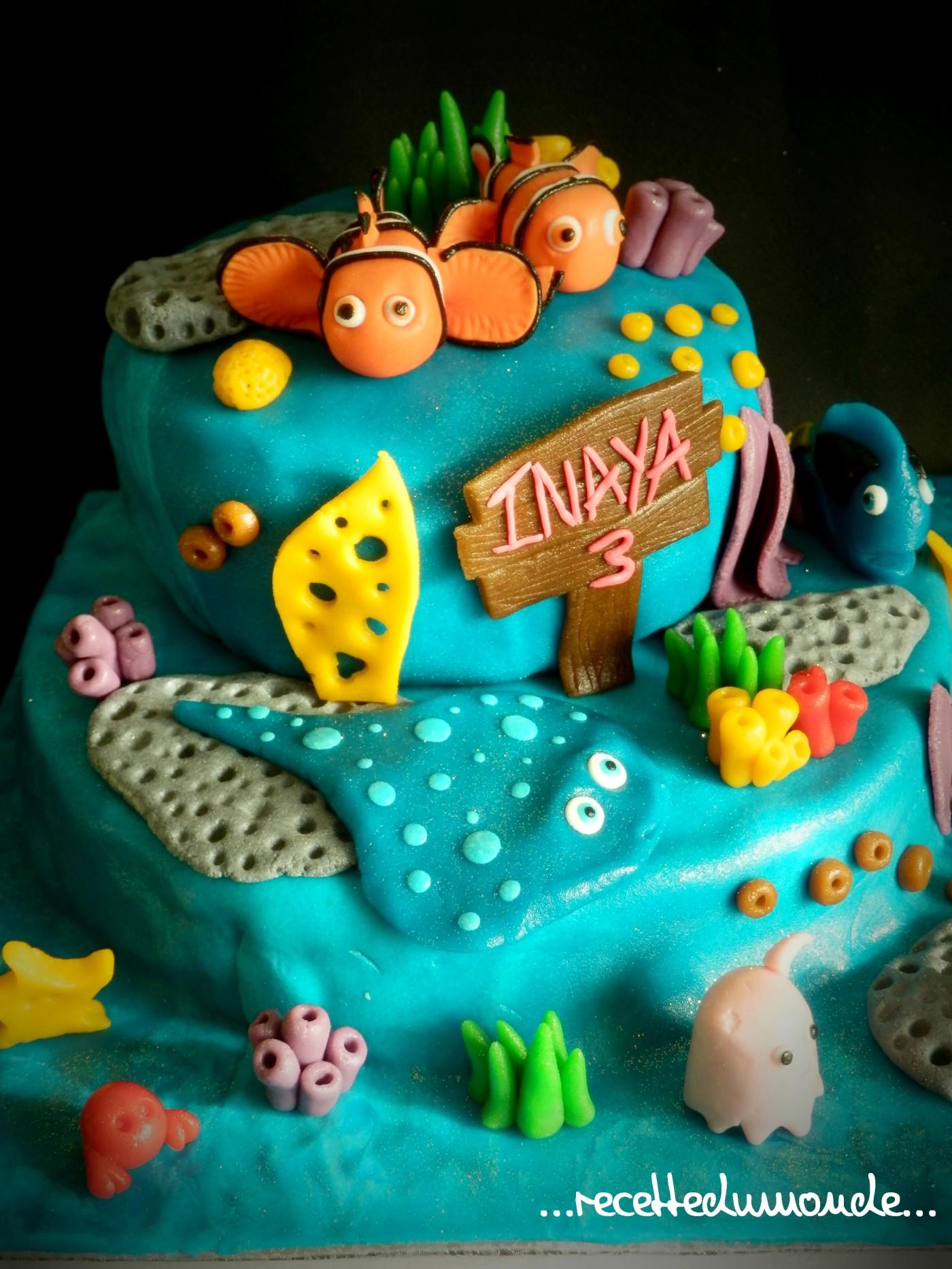 Gâteau Nemo en pâte d'amande