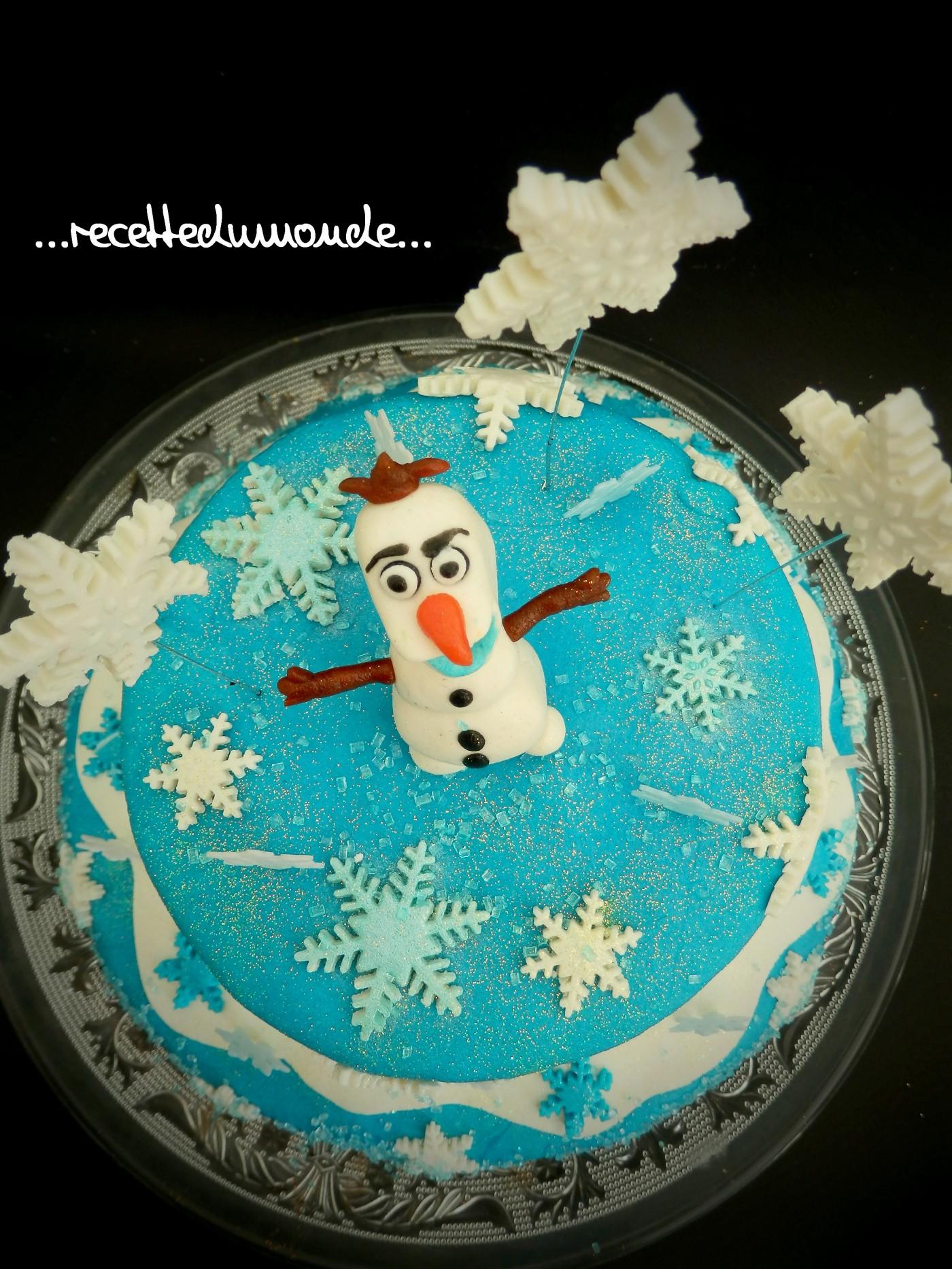 G teau olaf de la reine des neiges en p te d 39 amande blog - Gateau la reine des neiges ...