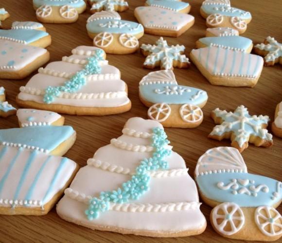 Biscuits pour un mariage-baptême dans la neige…