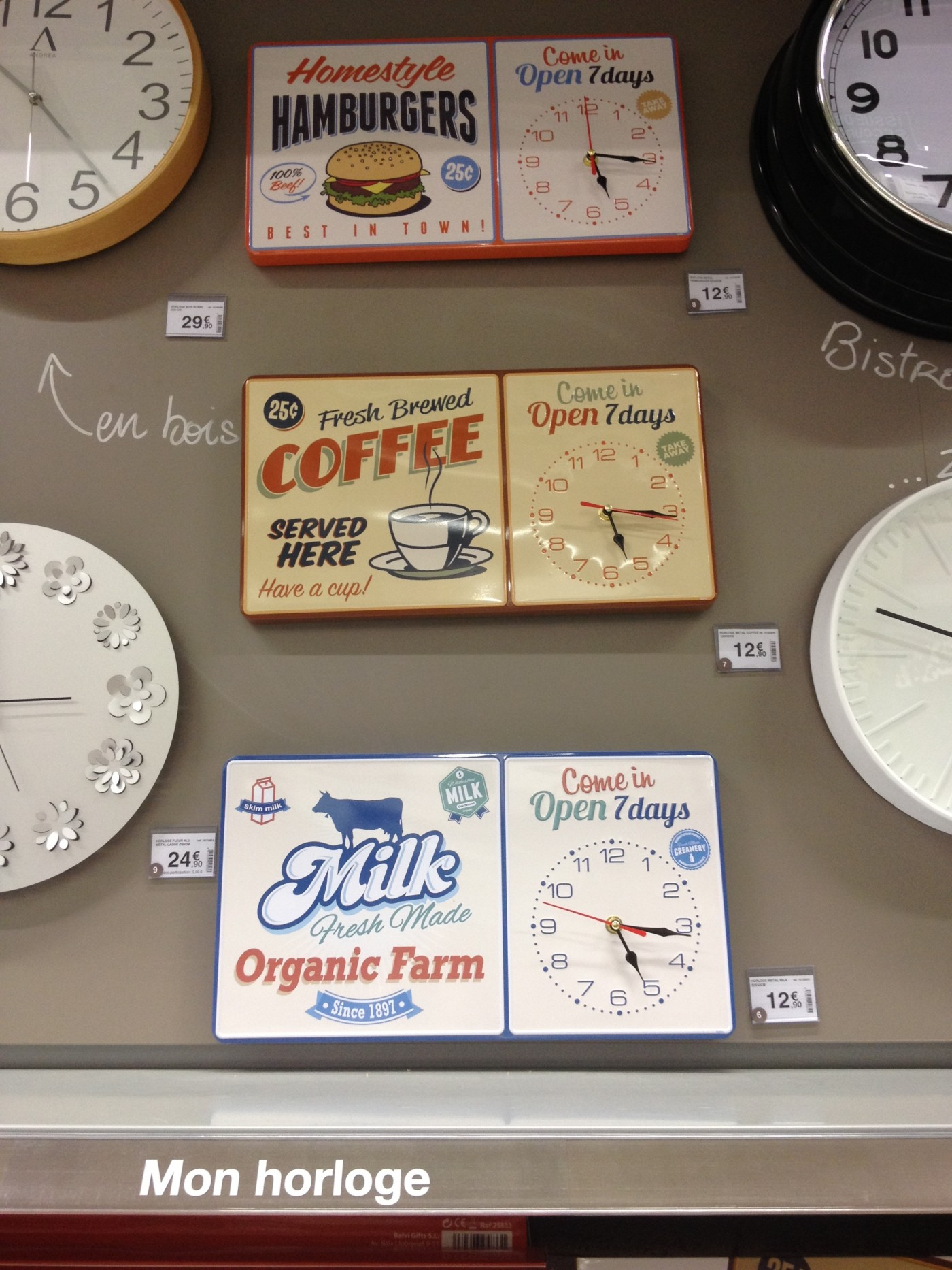 Nouveaute horloge diner americain blog z dio for Horloge zodio