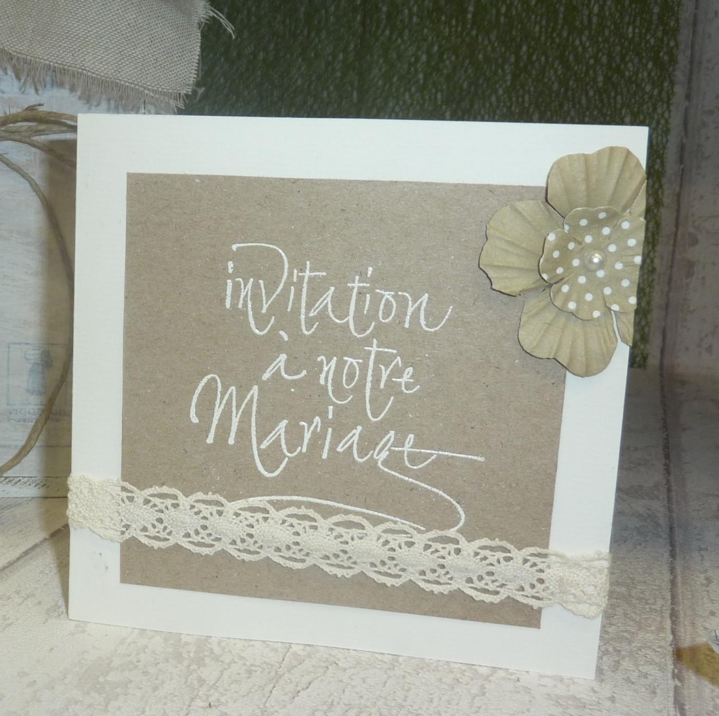 Carton d'invitation au  mariage champêtre