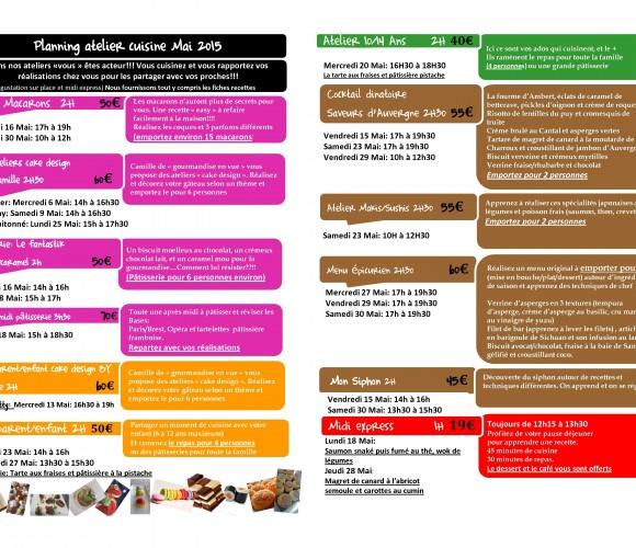 Le planning des ateliers cuisine du mois de Mai