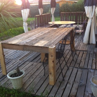 Awesome juinstalle ma table en palette sur ma terrasse for Table a manger en palette