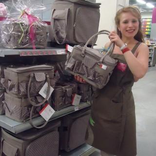 J'ai choisi pour maman: la boite à couture/sac grise à pois