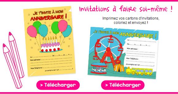 Mes cartons d'invitations d'anniversaire fête foraine gratuits à télécharger