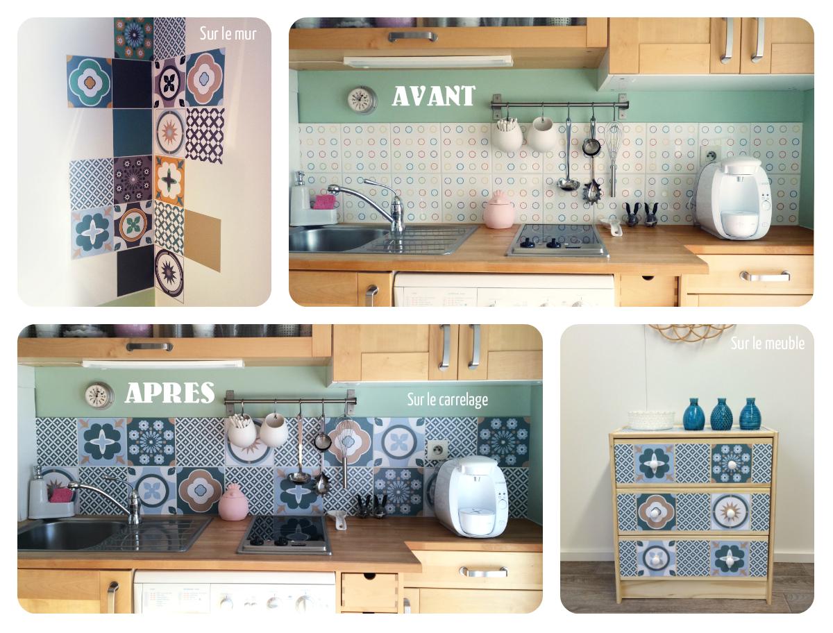 j 39 ai test pour vous les stickers d cor s fa on carreaux. Black Bedroom Furniture Sets. Home Design Ideas