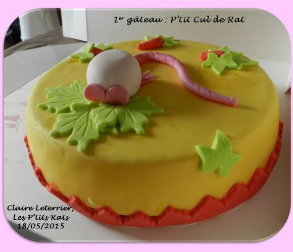 02 – Mon premier gâteau en pâte à sucre  «petit derrière de rat»  chez Zôdio (Mai 2015 – Atelier Cake design)