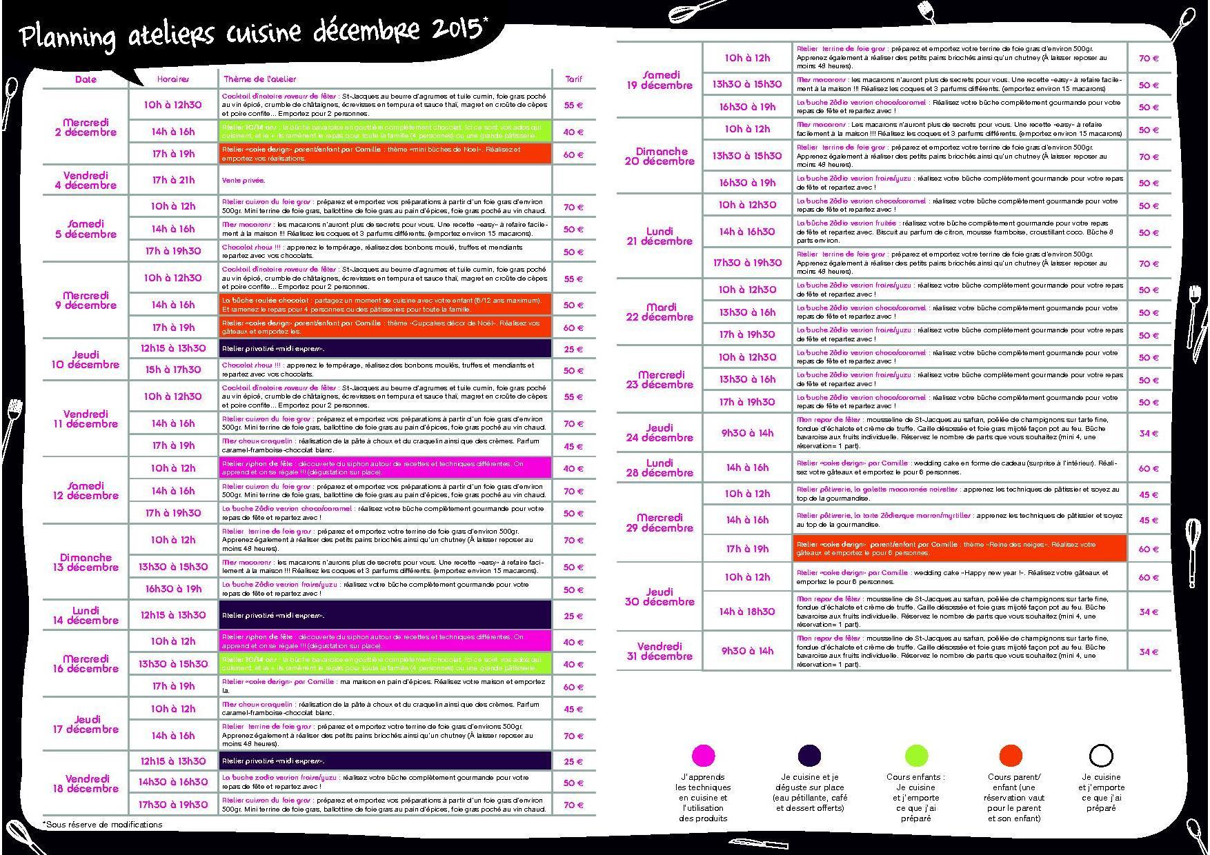 Le planning des ateliers cuisine du mois de d cembre blog z dio - Zodio chambourcy atelier cuisine ...