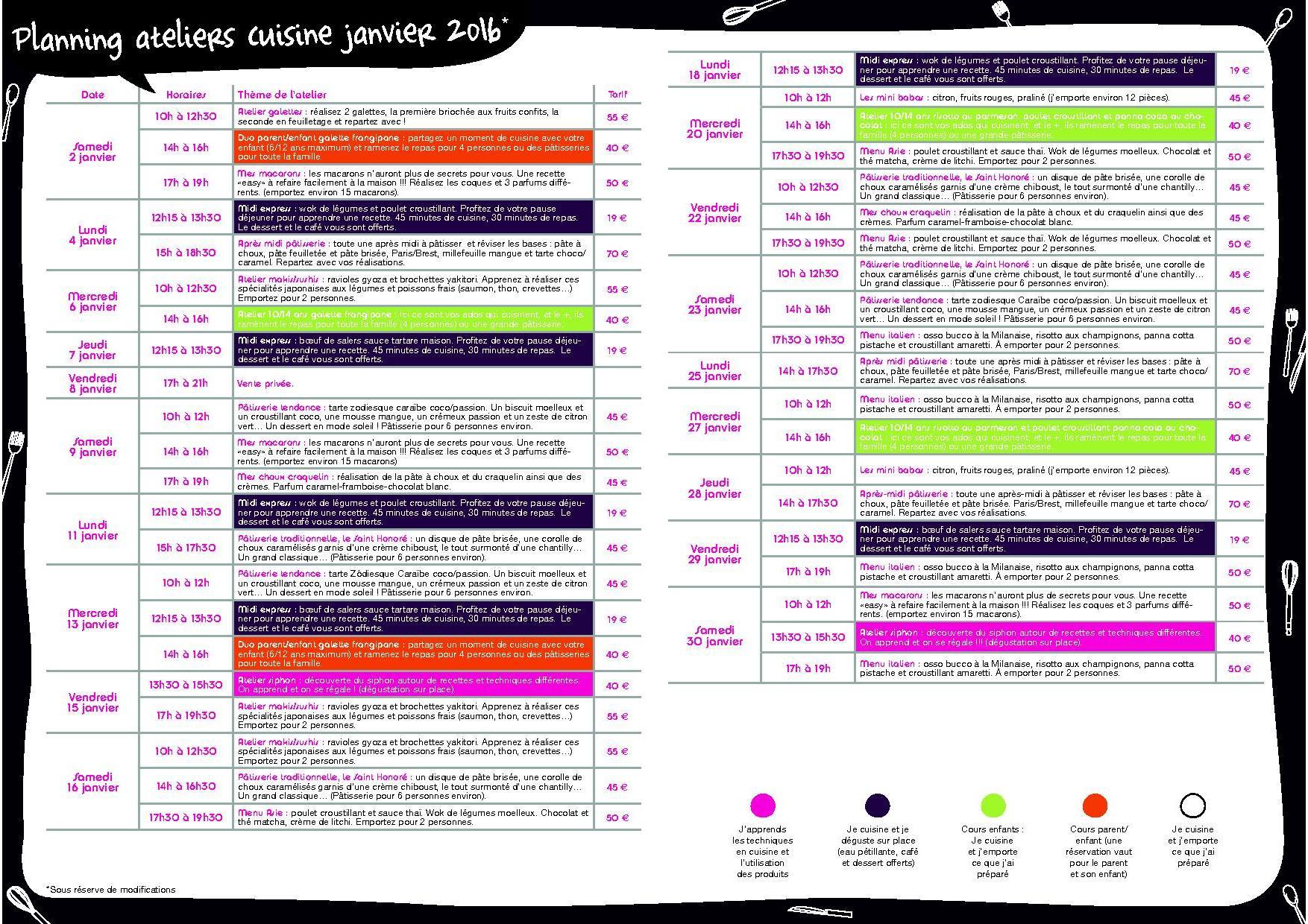 Le planning de l 39 atelier cuisine du mois de janvier blog z dio - Zodio chambourcy atelier cuisine ...