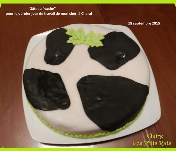 12 – Gâteau «Vache» vite fait – (Septembre 2015 – utilisation de colorant et de pâte à sucre noire)