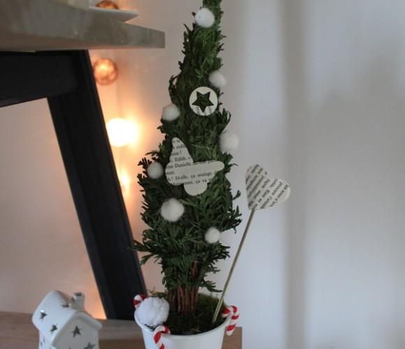 Un petit sapin de table avec des branches de thuyas/cyprès