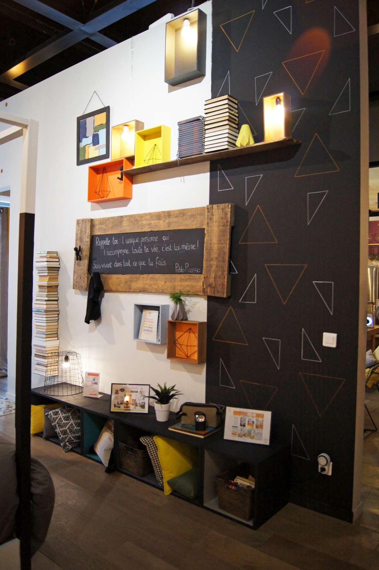 mon astuce d co des motifs g om triques sur mon mur blog z dio. Black Bedroom Furniture Sets. Home Design Ideas