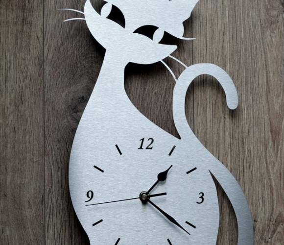 Horloge chat originale tout inox brossé