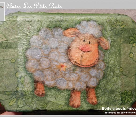 41 – Boîte à oeufs «mouton» (Avril 2012 – Serviettes collées)