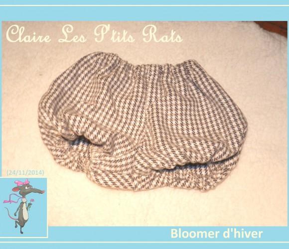 50 – Bloomer en lainage, assorti au manteau-poncho – taille petit 6 mois (Novembre 2014 – Couture)