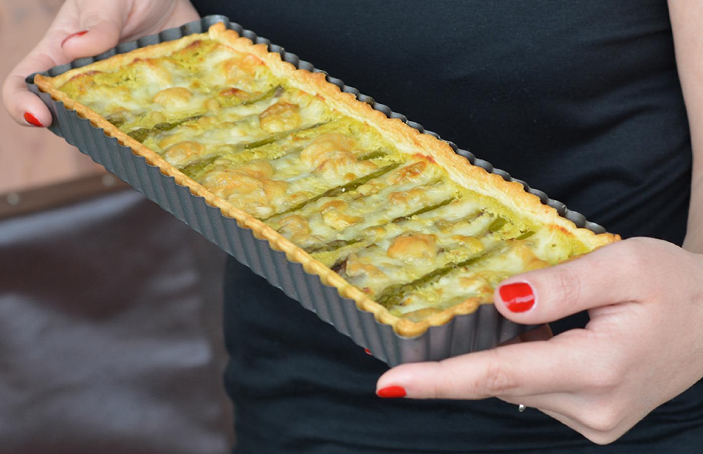 Tarte aux asperges vertes et saint-nectaire
