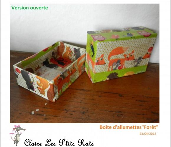 52 – Boîtes allumettes & oeufs «Forêt» (Avril 2012 – Serviettes collées)