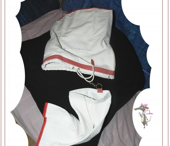 55 – Sac à chaussures et kit additionnel «rouge à pois» Marie-Lise  (Décembre 2012 – Couture)