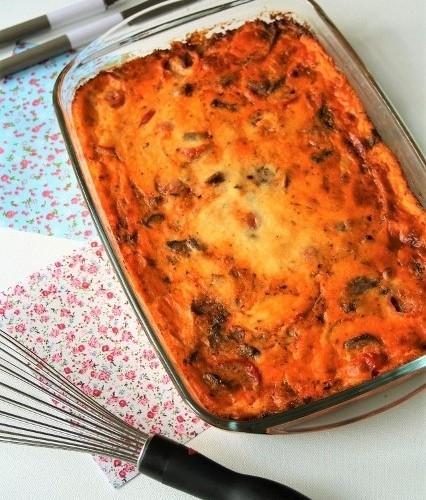 Clafoutis Bio aux poivrons,champignons, tomates cerises, ricotta, sans oeufs, gluten….