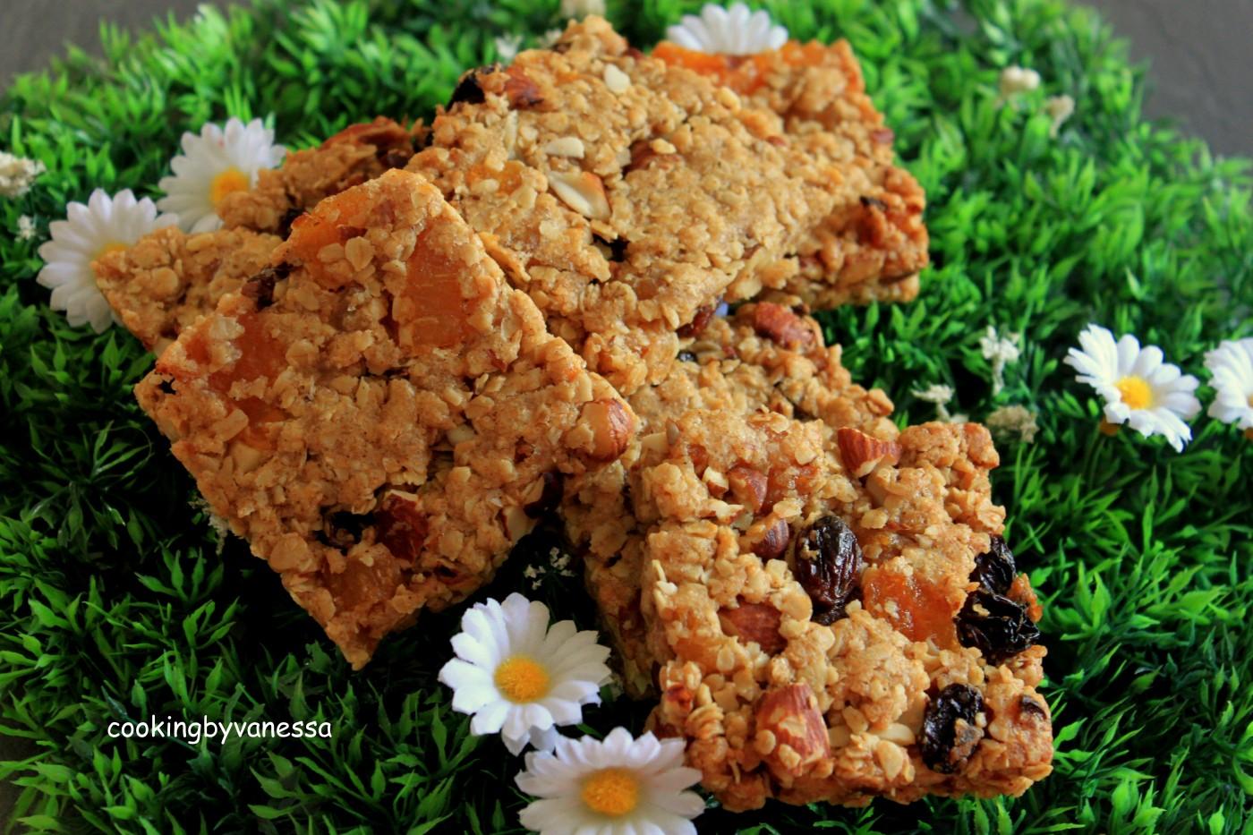 Barres de céréales (noisettes,amandes,abricots et raisin secs)