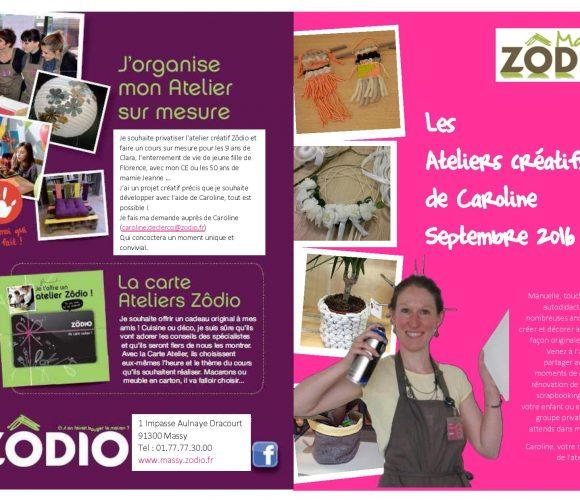 Planning atelier créatif – septembre 2016 – Zodio Massy