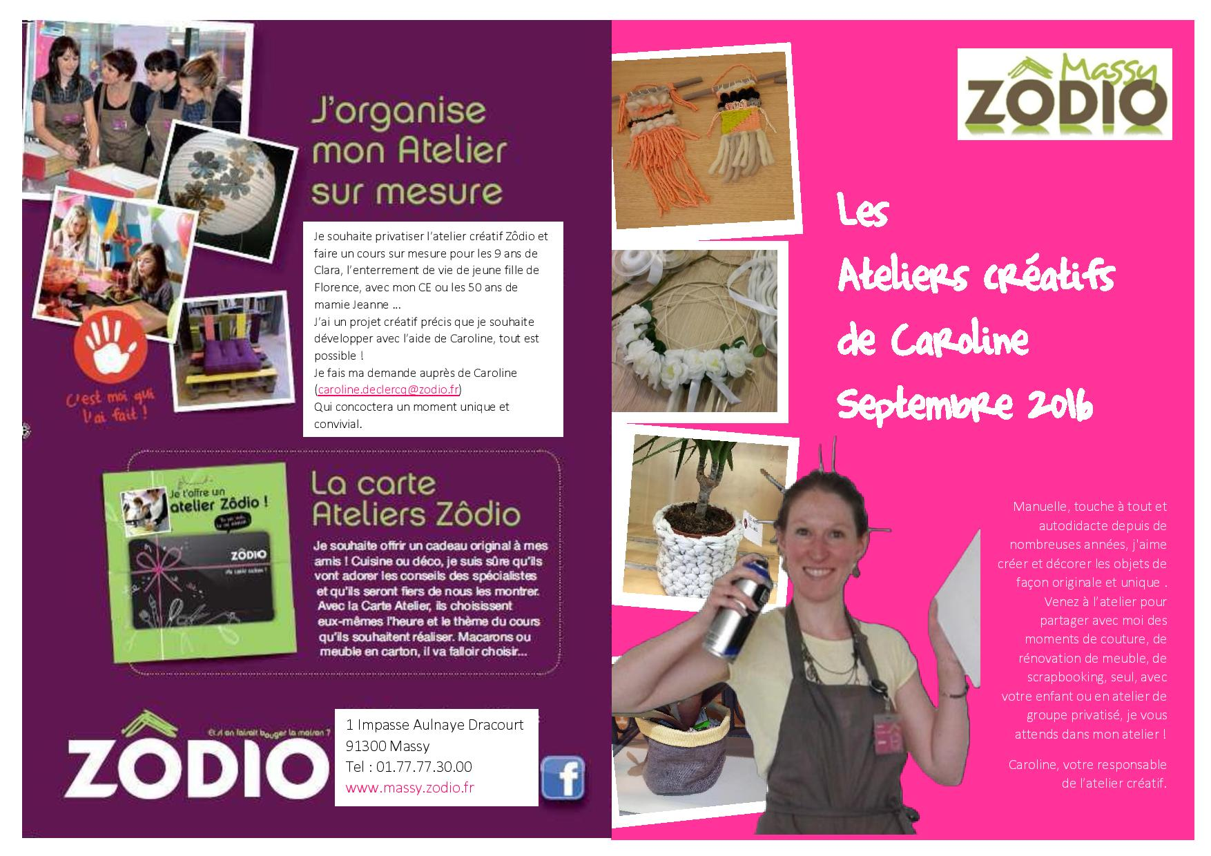 Planning atelier cr atif septembre 2016 zodio massy - Zodio chambourcy atelier cuisine ...