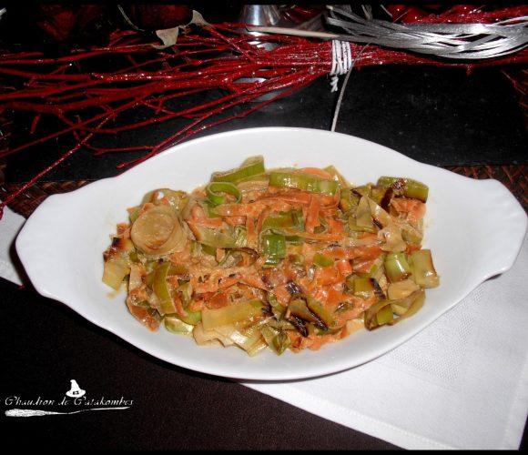 Lamelles de poireaux et carottes au Curry