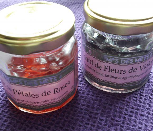 J'ai testé pour vous le confit de pétales de roses et le confit de fleurs de violettes du Temps des Mets