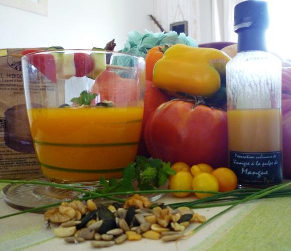 Gaspacho de légumes jaunes oranger
