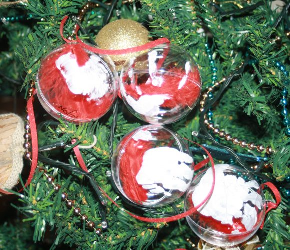 Boule de Noel main et plume