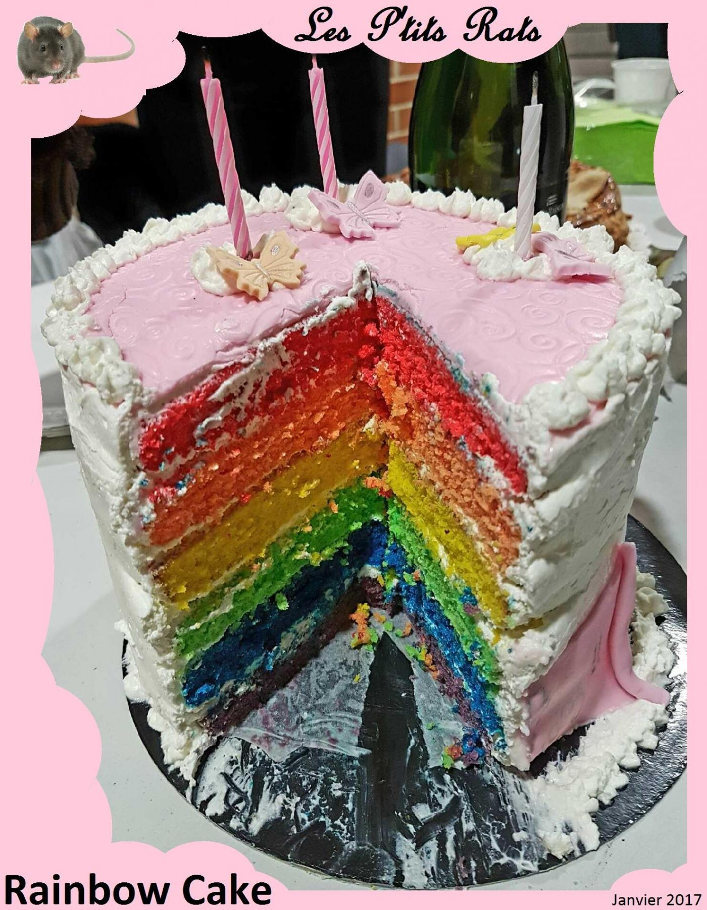 59  - Pâtisserie : un Rainbow Cake pour Tracy (Janvier 2017 - anniversaire)