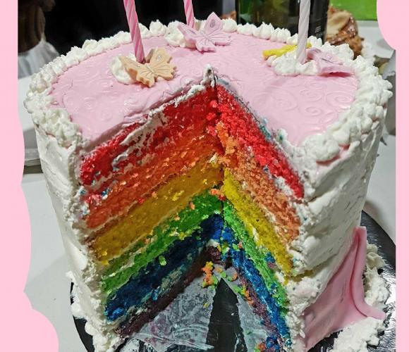 59  – Pâtisserie : un Rainbow Cake pour Tracy (Janvier 2017 – anniversaire)