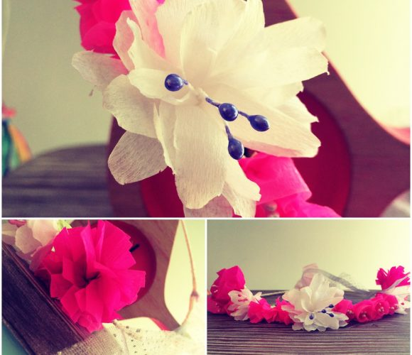 Couronne fleurs crépon