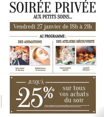 Soirée Privée aux Petis Soins….. vendredi 27 janvier 2017 de 18h à 21h