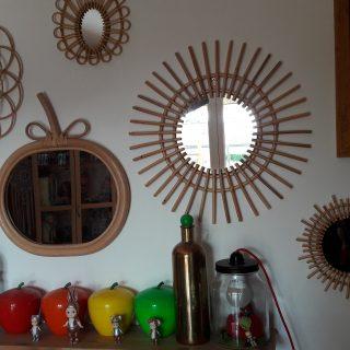 mes miroirs en rotin style vintage