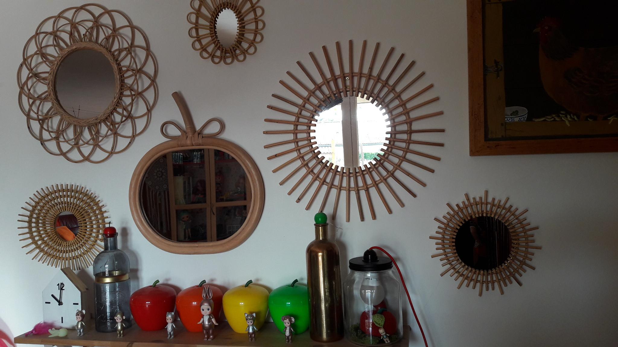 Mes miroirs en rotin style vintage blog z dio for Miroir zodio