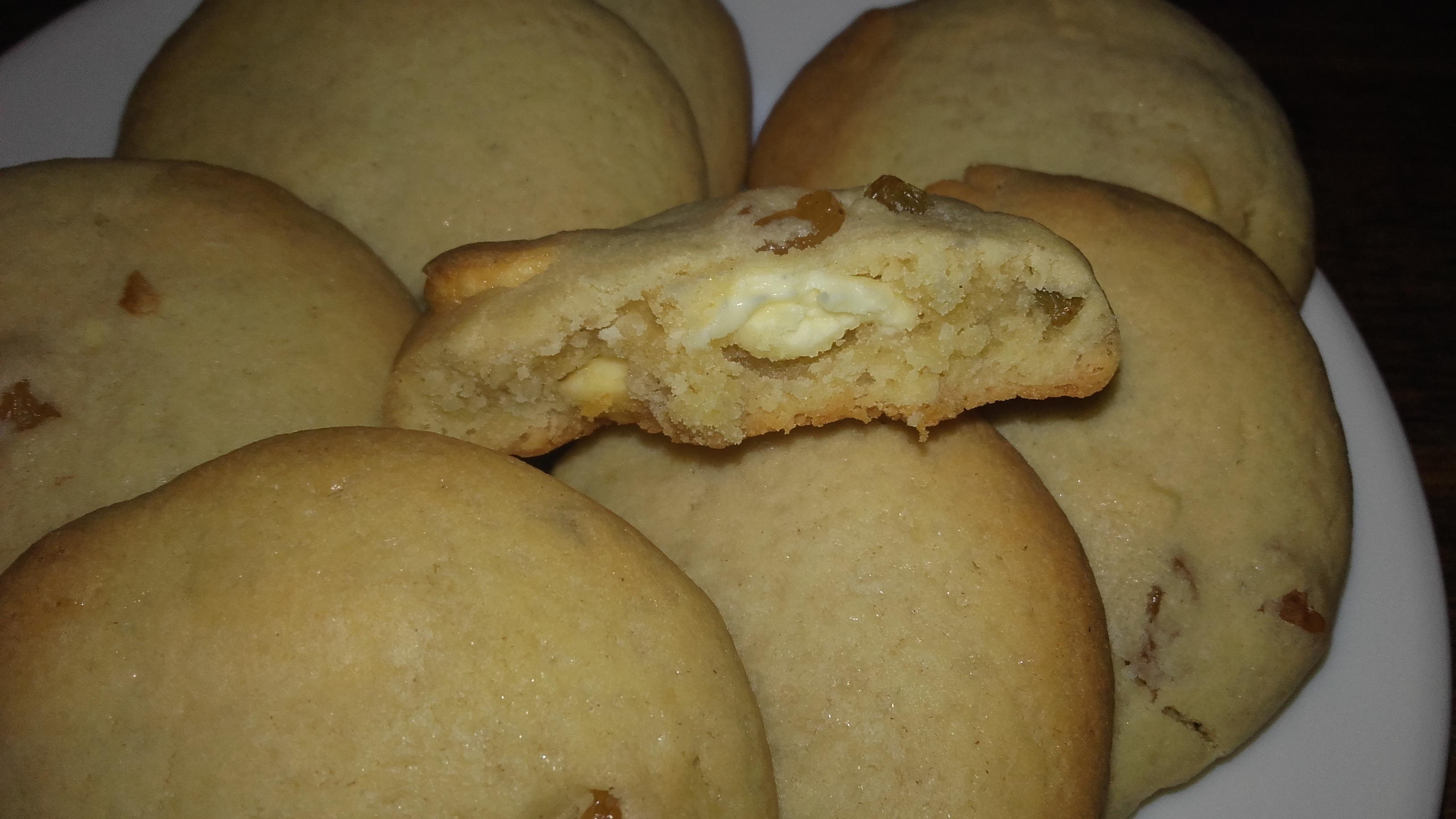 Cookies au chocolat blanc et raisins!!! Hummm