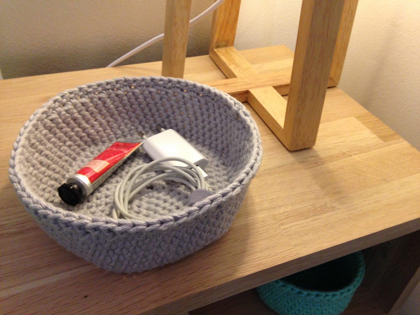 Réalisation d'une corbeille ronde au crochet