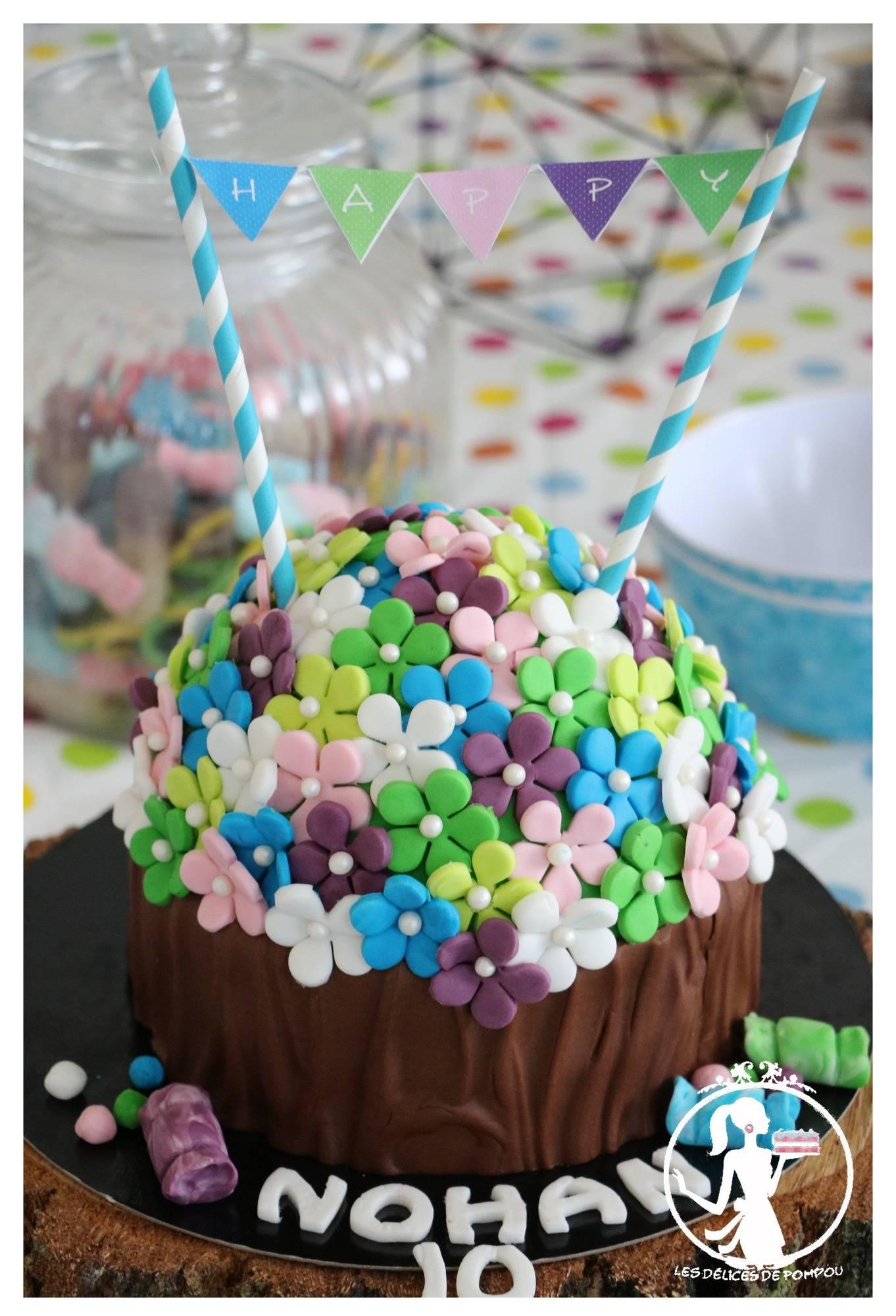 Cupcake géant fleuri