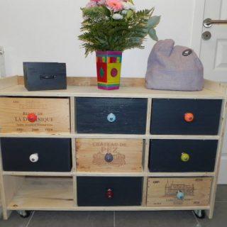 Creation d'un meuble avec des caisses à vin