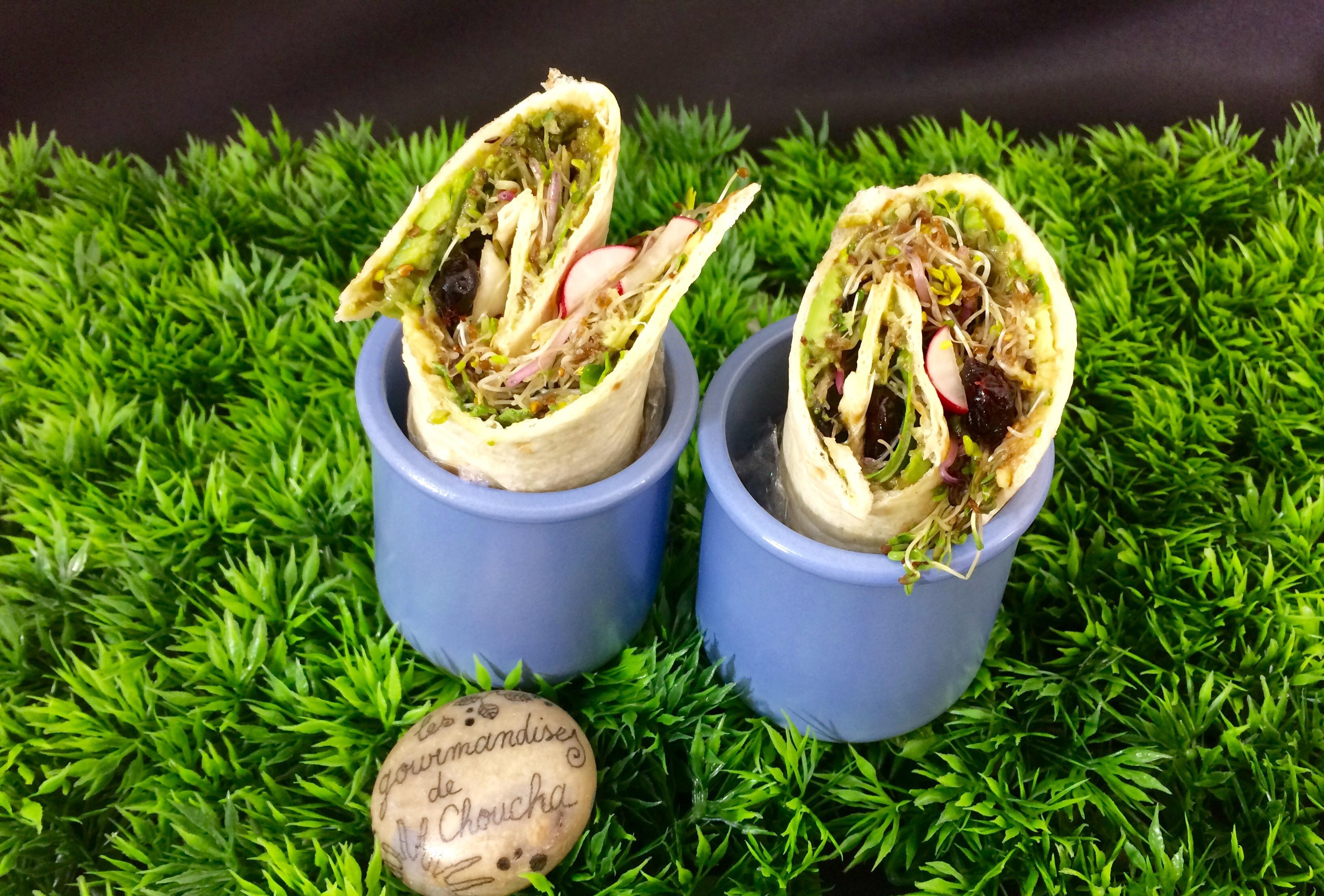 Wrap végétarien : graines germées, cranberries, avocat, radis, roquette, graines de tournesol et courge