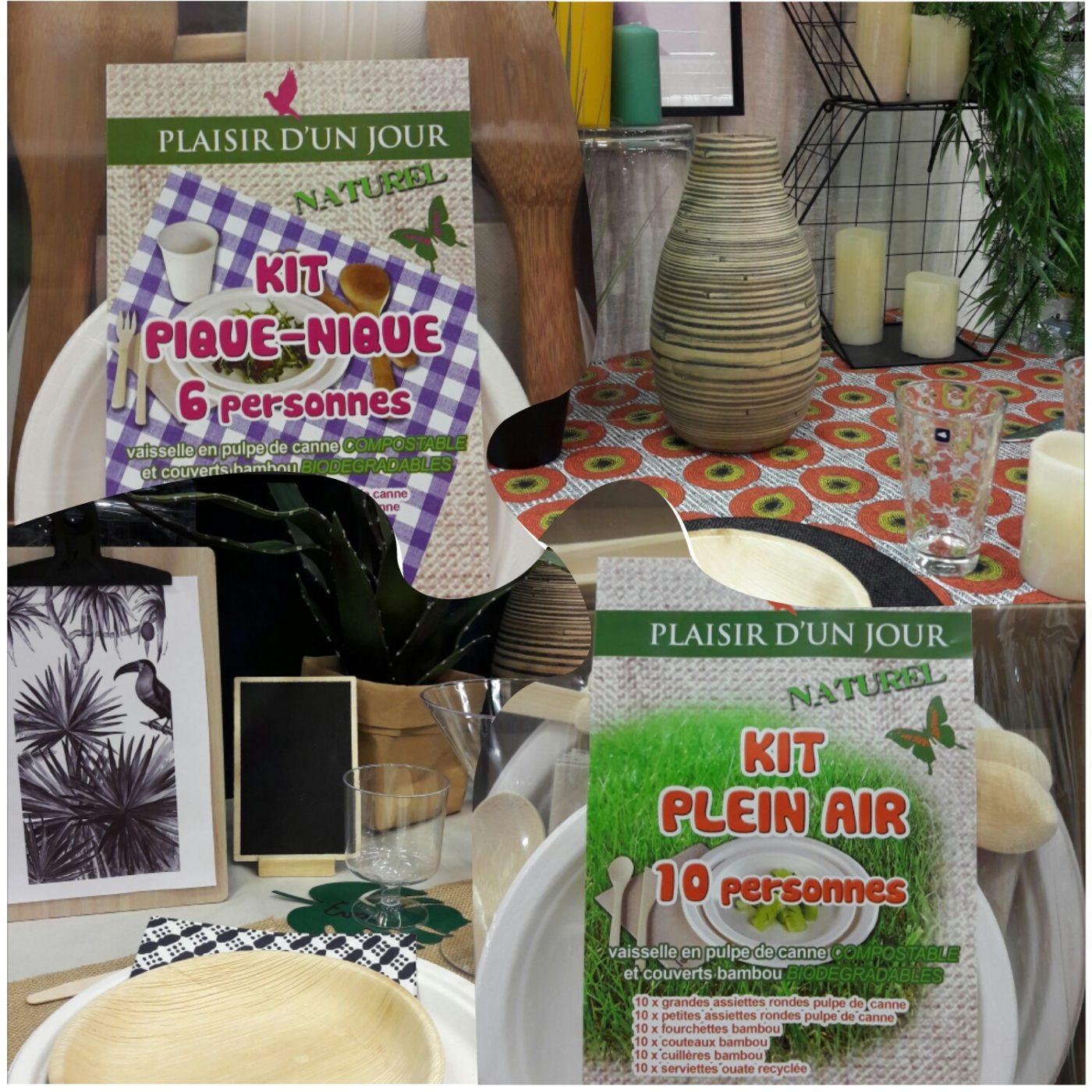 J'ai testé pour vous kit Plein Air, 10 ou 6 personnes (vaisselle en pulpe de canne) compostable et couverts bambou
