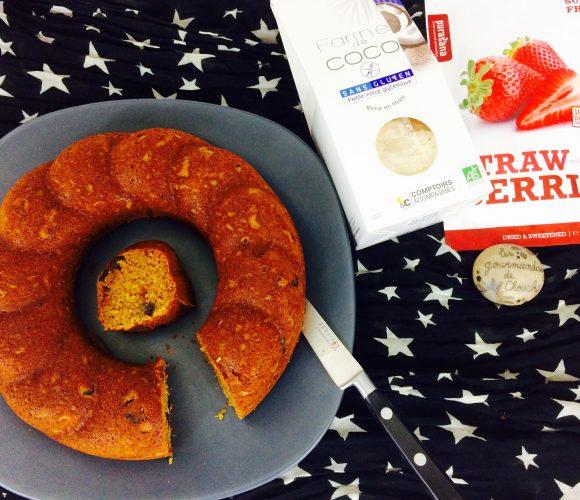 Banana bread sans gluten aux fraises séchées bio avec mon partenaire Elixanatur.fr