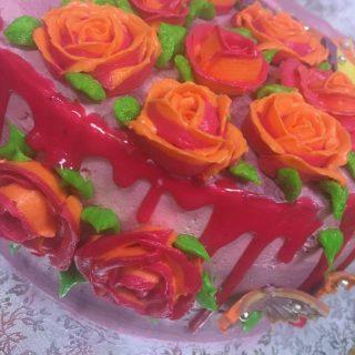 Layer cake mousse framboise et rose en CBMS