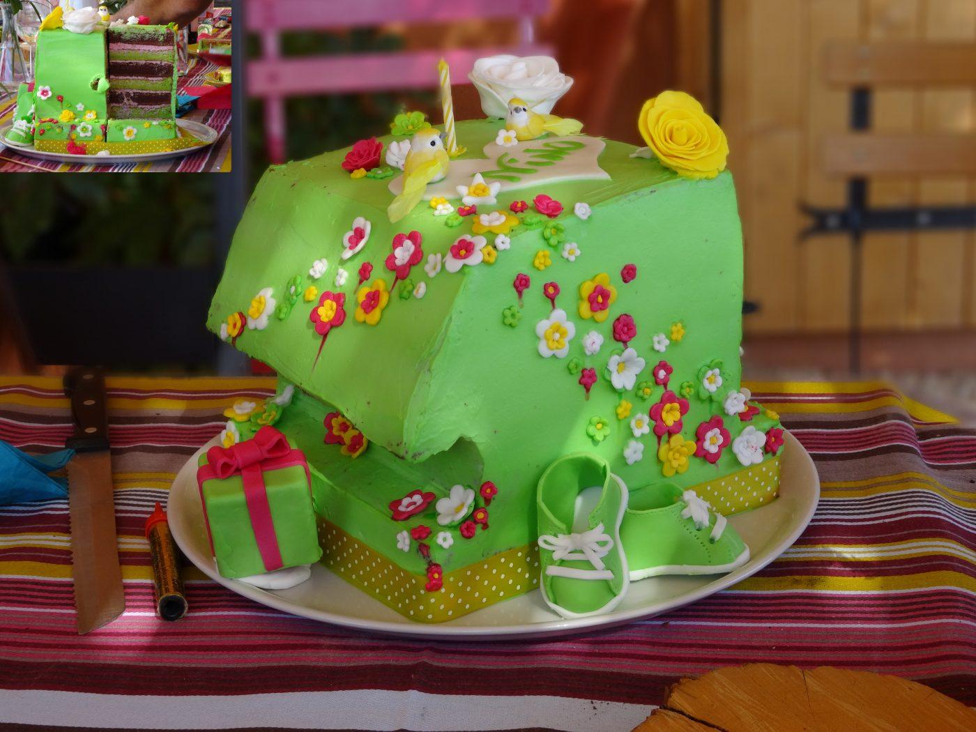 Premier gâteau de Chouchou: Le 1 géant verveine/choco/framboise