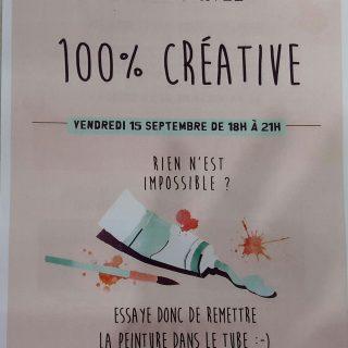 Soirée Privée : 100 % créative ! Le vendredi 15 septembre de 18H à 21H